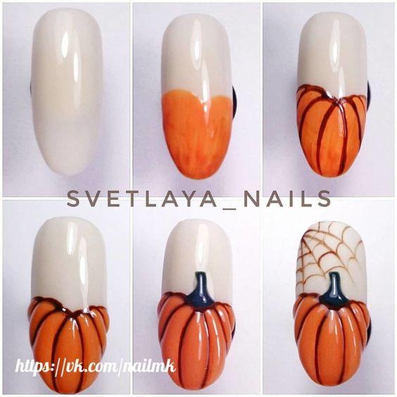 nail art halloween citrouille