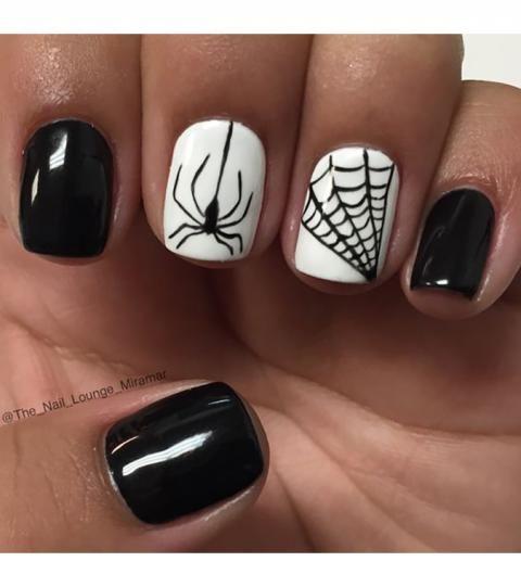 nail art halloween araignee