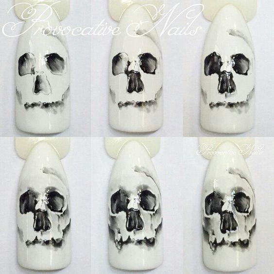 nail art halloween tete de mort