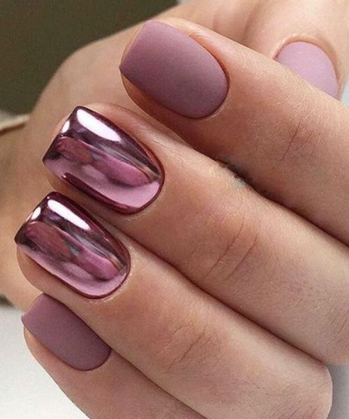 nail art rose metal chromé