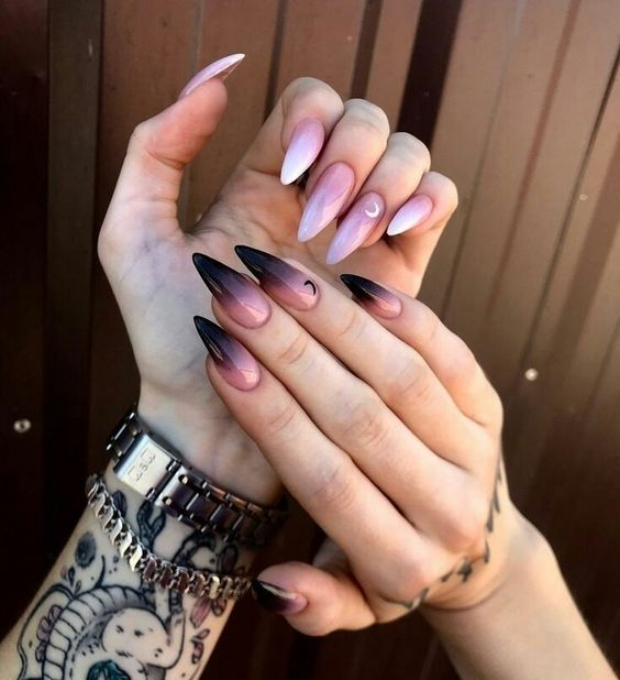 nail art rose noir